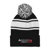 Black/White Two Tone Knit Pom Beanie w/Cuff-Andrews Institute Logo