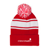 Red/White Two Tone Knit Pom Beanie w/Cuff-Childrens Health Logo