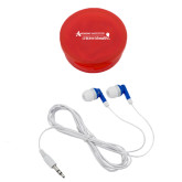 Ear Buds in Red Case-Andrews Institute Logo