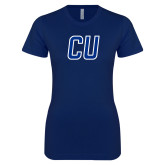 Next Level Ladies SoftStyle Junior Fitted Navy Tee-CU Mark
