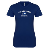 Next Level Ladies SoftStyle Junior Fitted Navy Tee-Chowan Basketball