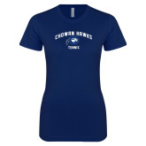 Next Level Ladies SoftStyle Junior Fitted Navy Tee-Chowan Tennis