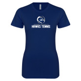 Next Level Ladies SoftStyle Junior Fitted Navy Tee-Chowan Hawks Tennis