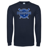 Navy Long Sleeve T Shirt-2018 Softball Champions
