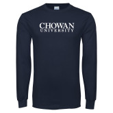 Navy Long Sleeve T Shirt-Chowan University