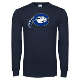Navy Long Sleeve T Shirt-Mascot Logo Distressed