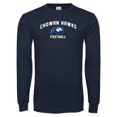 Navy Long Sleeve T Shirt-Chowan Football