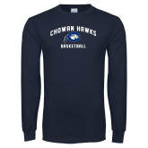 Navy Long Sleeve T Shirt-Chowan Basketball
