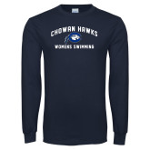 Navy Long Sleeve T Shirt-Chowan Womens Swimming