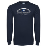 Navy Long Sleeve T Shirt-Chowan University Football