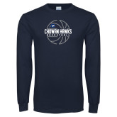 Navy Long Sleeve T Shirt-Chowan Hawks Basketball