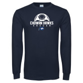 Navy Long Sleeve T Shirt-Chowan Hawks Soccer