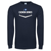 Navy Long Sleeve T Shirt-Chowan Hawks Baseball