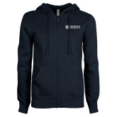 ENZA Ladies Navy Fleece Full Zip Hoodie-Horizontal Primary Mark