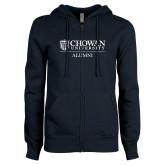ENZA Ladies Navy Fleece Full Zip Hoodie-Chowan Alumni