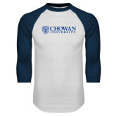 White/Navy Raglan Baseball T Shirt-Horizontal Primary Mark