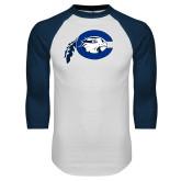 White/Navy Raglan Baseball T Shirt-Mascot Logo