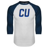 White/Navy Raglan Baseball T Shirt-CU Mark