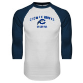 White/Navy Raglan Baseball T Shirt-Chowan Baseball