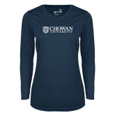 Ladies Syntrel Performance Navy Longsleeve Shirt-Horizontal Primary Mark