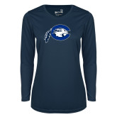 Ladies Syntrel Performance Navy Longsleeve Shirt-Mascot Logo