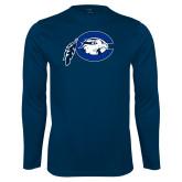 Performance Navy Longsleeve Shirt-Mascot Logo
