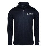 Russell Navy Heather 1/4 Zip-Horizontal Primary Mark