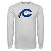 White Long Sleeve T Shirt-Mascot Logo
