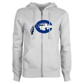 ENZA Ladies White Fleece Full Zip Hoodie-Mascot Logo