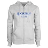 ENZA Ladies White Fleece Full Zip Hoodie-Chowan Alumni