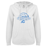 ENZA Ladies White V Notch Raw Edge Fleece Hoodie-2017 Volleyball Champions