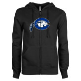 ENZA Ladies Black Fleece Full Zip Hoodie-Mascot Logo