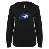 ENZA Ladies Black V Notch Raw Edge Fleece Hoodie-Mascot Logo