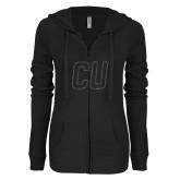 ENZA Ladies Black Light Weight Fleece Full Zip Hoodie-CU Glitter Graphite Soft Glitter