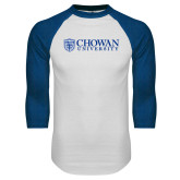 White/Royal Raglan Baseball T Shirt-Horizontal Primary Mark