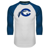 White/Royal Raglan Baseball T Shirt-Mascot Logo