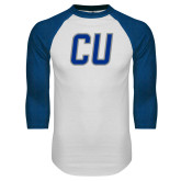 White/Royal Raglan Baseball T Shirt-CU Mark