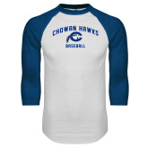White/Royal Raglan Baseball T Shirt-Chowan Baseball