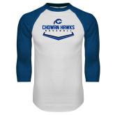 White/Royal Raglan Baseball T Shirt-Chowan Hawks Baseball