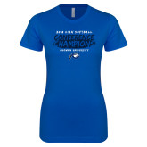 Next Level Ladies SoftStyle Junior Fitted Royal Tee-2018 Softball Champions
