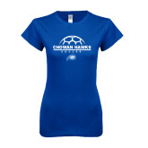 Next Level Ladies SoftStyle Junior Fitted Royal Tee-Soccer Ball on Top