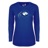 Ladies Syntrel Performance Royal Longsleeve Shirt-Mascot Logo
