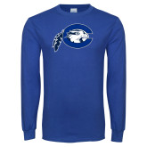 Royal Long Sleeve T Shirt-Mascot Logo Distressed