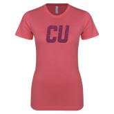Next Level Ladies SoftStyle Junior Fitted Pink Tee-CU Glitter Pink Glitter