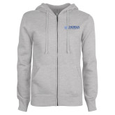 ENZA Ladies Grey Fleece Full Zip Hoodie-Horizontal Primary Mark