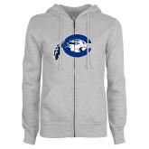 ENZA Ladies Grey Fleece Full Zip Hoodie-Mascot Logo