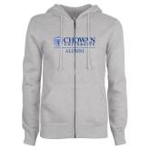 ENZA Ladies Grey Fleece Full Zip Hoodie-Chowan Alumni