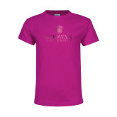 Youth Cyber Pink T Shirt-Primary Mark  Foil