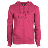 ENZA Ladies Fuchsia Fleece Full Zip Hoodie-CU Glitter Hot Pink Glitter