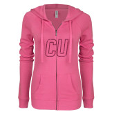 ENZA Ladies Hot Pink Light Weight Fleece Full Zip Hoodie-CU Glitter Hot Pink Glitter